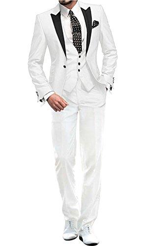 GEORGE BRIDE Herren Anzug 5-Teilig Anzug Sakko,Weste,Anzug Hose,Krawatte,Tasche Platz 002,Weiß S