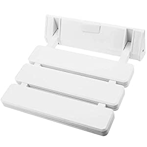 PrimeMatik – Asiento de Ducha abatible. Silla Plegable para Ancianos de plástico y Aluminio Blanco 320x328mm