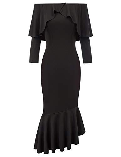 Belle Poque Robe Crayon Femme Elastique Un Peu Mi Longue Robe Vintage Noire Soiree M BP2006-1