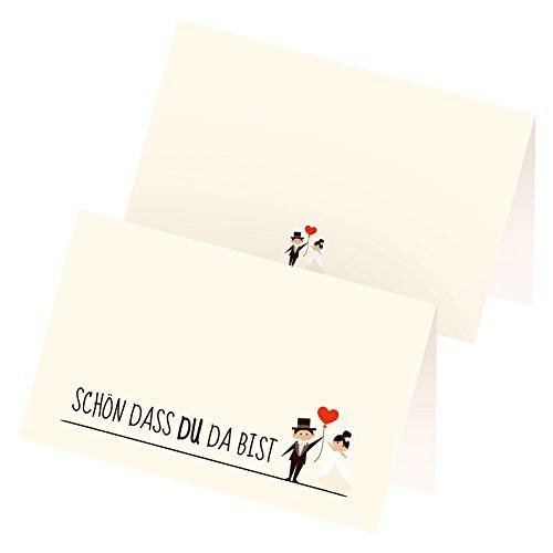 itenga 24 x Tischkarten Platzkarten Hochzeit Motiv 24 Ehe Paar mit Luftballon Herz