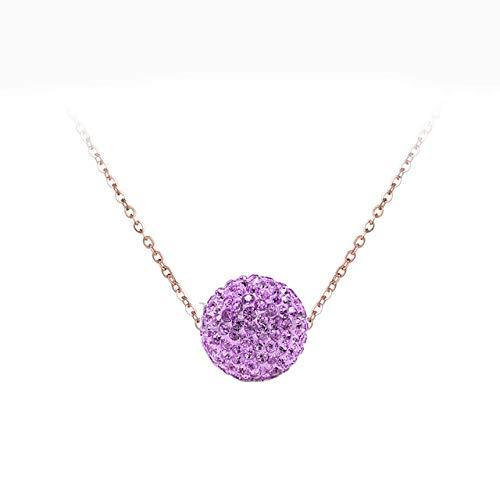 AQING Kristall-Disco-Kugel-Hängende Halsketten-Weibliches Mädchen-Edelstahl-Kettenschmucksache-Kettenhalskette, Hellpurpurn, Rose Gold Chain