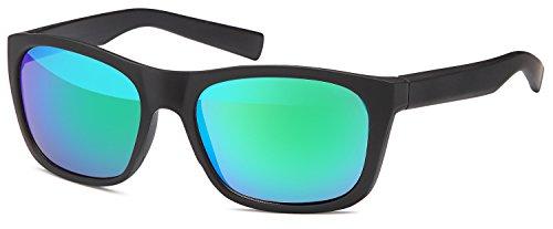 (SAMBORA® A80034-2 Unisex Sonnenbrille UV400 Schutz Wayfarer Style - Rahmen: Schwarz Matt Glas: Grün/Blau Verspiegelt)
