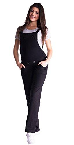 Mija - Denim Jeans Latzhose Umstandsjeans mit Bauchband 3018 (36, Schwarz)