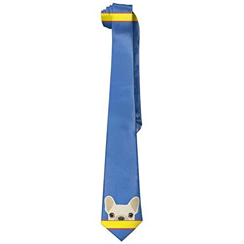 Funny French Bulldog Print Men's Fashion Skinny Necktie Ties Novelty Necktie Silk