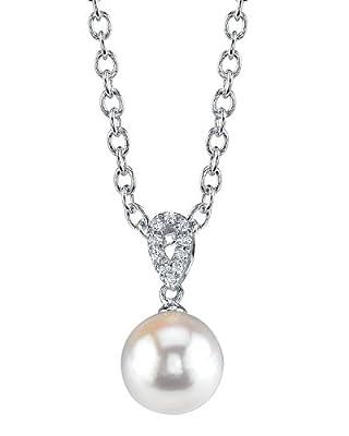 14K Gold Japanese Akoya Cultured Pearl & Diamond Callie Pendant