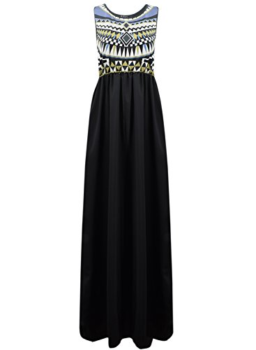 Azbro Fashionable National Wind Splicing Maxi Dress Black