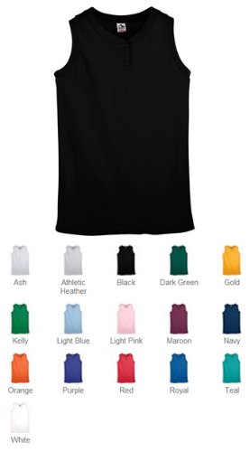 Ladies' Sleeveless Two-Button Softball Jersey BLACK XL -