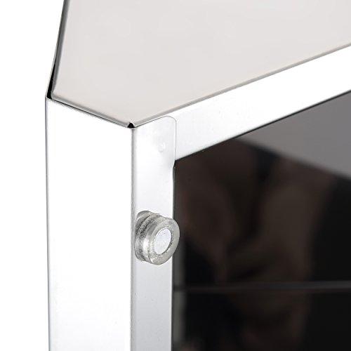 Harima-Badezimmer Spiegelschrank Eck Schrank mit Spiegel und 3Einlegeböden, Wand montiert, Rahmen aus Edelstahl - 4