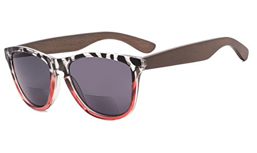 Eyekepper Bifokale Sonnenbrille mit Holz Tempel für Frauen +2.50 Stärke Lesen Sonnenbrillen mit Holz Tempel(Leopard-Rot Rahmen)