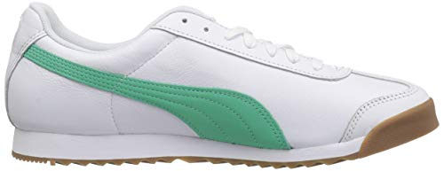 PUMA Men s Roma Basic Sneaker White-Biscay Green  8 5 M US