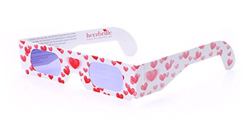 Herzbrille Liebesrausch (5 Stück) – Herzchen sehen in jedem Licht: Ideales Hochzeitsgeschenk! | Kostenloser Versand mit Amazon Prime | 3D-Brillen mit Herzeffekt | Perfekt in Verbindung mit Feuerwerk oder Wunderkerzen auf Hochzeiten & Partys