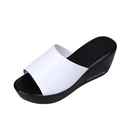 Liuchehd sandali donna con zeppa estive elegant scarpe donna estive eleganti scarpe donna tacco medio sandali gioiello donna estate romane infradito (bianco, asia 35)