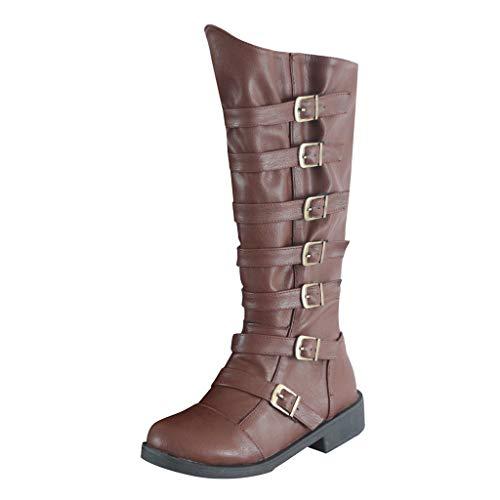 Frauen Stiefel, Dasongff Dicke Hohe Stiefel Schnalle Schuhe Seitlicher ReißVerschluss Runder Kopf Knie Stiefel Rutschfeste Wasserdichte Plattform Lange Ritter Stiefel -
