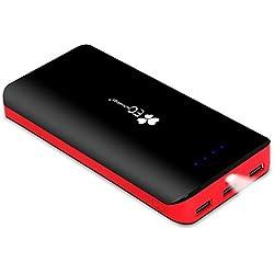 EC TECHNOLOGY Batterie Externe 22400mAh Power Bank Ultra Haute Capacité 3Ports USB Auto IC Sortie Portable Chargeur Compatible avec iPhone, Samsung Galaxy et Autres Smartphones Noir et Rouge.