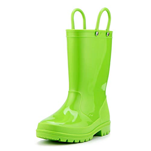 KomForme Girl Kid Rain Boots, Environmentally Friendly Material Rain Boots with Memory Foam Insole and Easy-on Handles