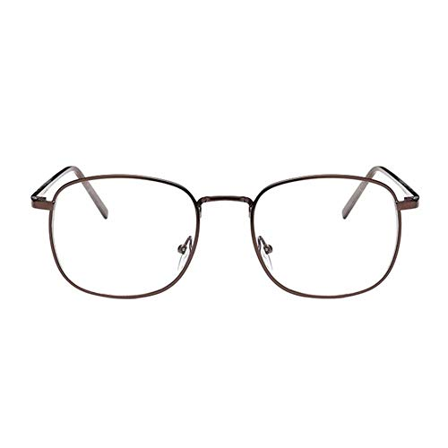 Kurzsichtigkeit Brille Myopia Brille Korean Square Metal Frame Myopia Glasses Men Women Nearsighted Eyeglass (These are not reading glasses) Coffee,-3.5