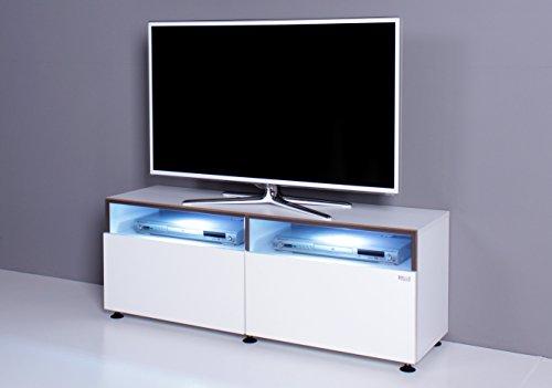TV Bank / Lowboard NOOMO weiß / weiß Hochglanz inkl. RGB-LED Beleuchtung - 3