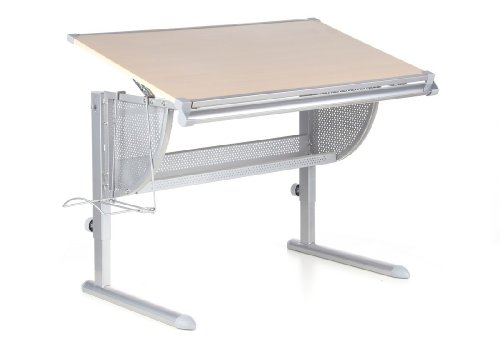 hjh OFFICE 705010 Kinderschreibtisch NENOS buche silber, neigbare Tischplatte,mitwachsend ideal für Schulkinder, gute solide Verarbeitung, Schreibtisch höhenverstellbar, Jugend Schreibtisch