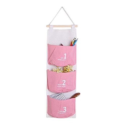 Depory portaoggetti da appendere con 3 tasche sacche portaoggetti in cotone e lino per parete asciugamani pannolini tasche portatutto da porta - rosa