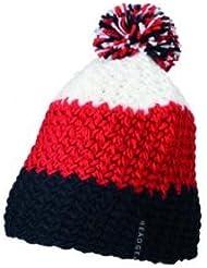Myrtle Beach Häkel-Mütze mit Bommel dreifarbig, Farbe:navy red white