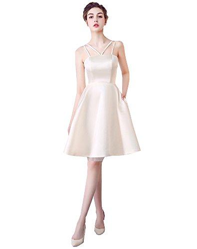 Erosebridal Trägerlos Kurz Ballkleid Harness Brautjungfer Kleid Abendkleid Champagner
