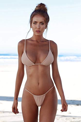 QIUXIANG-Swimwear Badeanzug für Frauen Frauen Double Strap High Cut Thong Badeanzüge Triangel Bikini Sets Brasilianische Bikini Set Cheeky Badeanzug (Color : 3, Size : 2XL) -