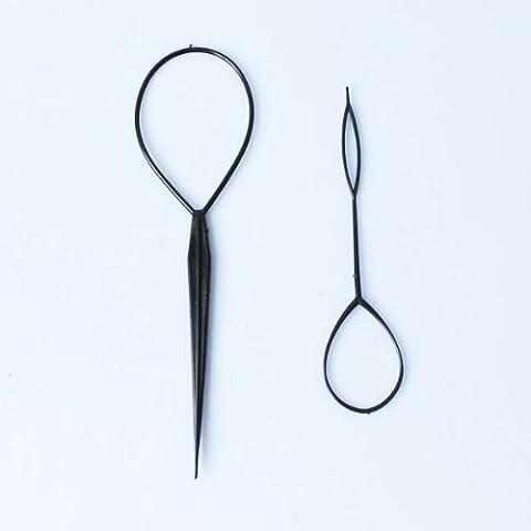 Ponytail Styling Maker Clip Tool Black 2pcs Plastic Magic Topsy Tail Hair Braid