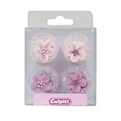 Give any celebration cupcakes the perfect floral touch with these pretty lilac floral sugar pipings. Each pack includes lilac and white flowers in 4 varying designs. Ideal for cupcakes cakes and cookies these sugar decorations are completely ...