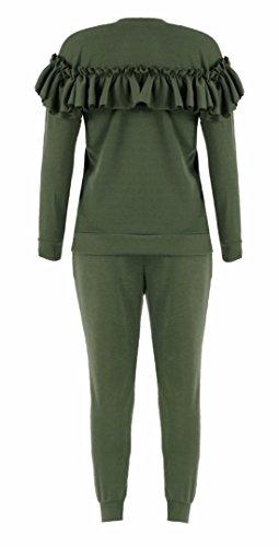 FK Styles - Manches Longues Détail Frill Combinaison Loungewear Set - Femmes Kaki