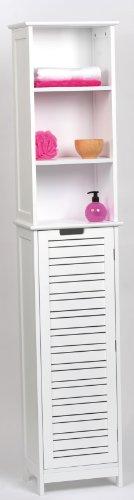 Mueble columna de baño - 3 estanterías y 1 puerta - Diseño puro y sencillo