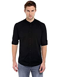 Dennis Lingo Men's Solid Casual Full Sleeves Black Cotton Shirt