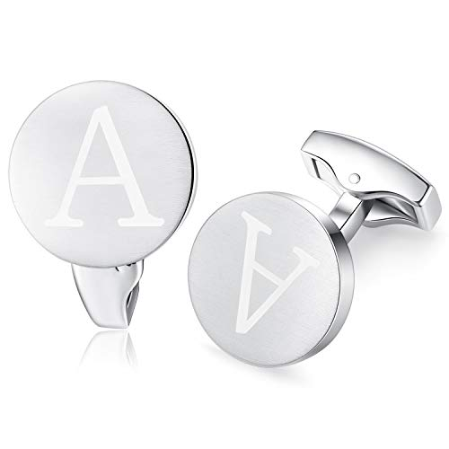 HONEY BEAR Carta Inicial Alfabeto Gemelos - Acero Inoxidable para la Camisa de los Hombres Regalo de Boda del Negocio,Plata cepillada