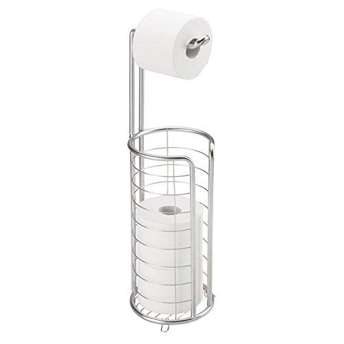 mDesign Portarrollos de papel higiénico autoportante – Moderno dispensador de papel higiénico de acero inoxidable cepillado – Porta rollos de pie con lugar para 4 rollos de papel higiénico – plateado
