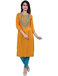 M&D 3/4 Sleeve Beautiful Embroidered Pure Cotton Knee long kurti for women
