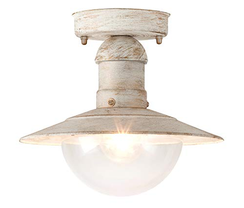 Oslo Außendeckenleuchte leuchtenladen Vintage-Design Metall/Kunststoff antik weiß Außenleuchte Deckenlampe Außenlampe E27 60W