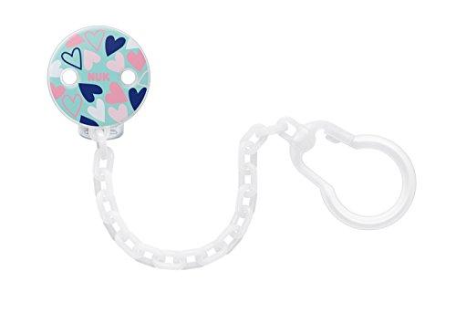 Band Auf Dem Clip Jungen Weißen (Nuk 10256408 Schnullerkette mit Clip, BPA frei, 1 Stück, blau)