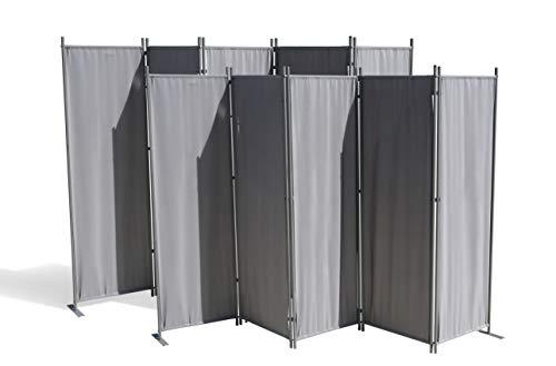 GRASEKAMP Qualität seit 1972 2 Stück Paravent 5 teilig Grau Raumteiler Trennwand Sichtschutz
