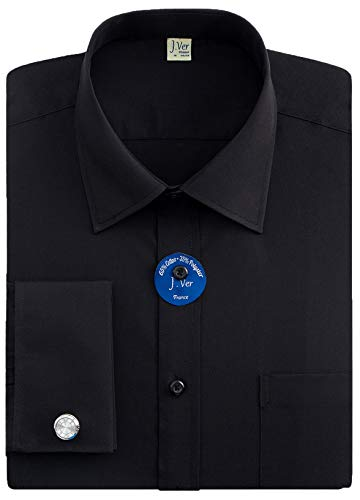 """J.VER Men's Double Cuff Regular Fit Formal Dress Shirts Include Metal Cufflinks French Cuff Long Sleeve - Color:Black, Size:17"""" Neck / 34""""-35"""" Sleeve"""