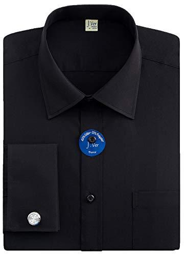 J.ver camicie da uomo con polsini francesi manica lunga vestibilità regolare camicia con gemelli in metallo - colore:nero, dimensione:eu 46 - Ärmellänge 89 cm