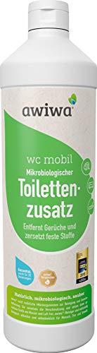 awiwa Tapa de inodoro móvil bio adicional sanitaria líquido para caravana Caravana Caravan Barco. Certificado adicional para camping de WC Química láser inodoro y depósito de residuos. (biodegradable, 1L = 20Dosis)
