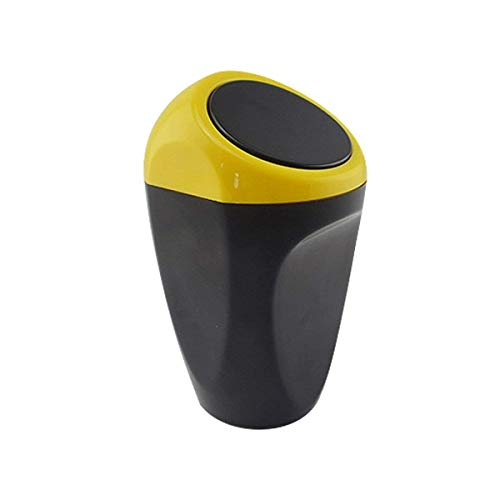 Auto Accessoires cuisine Mini Plastique Couverture Voiture Poubelle bacs de stockage (jaune)