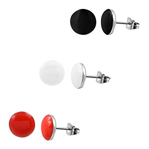 3 Paar Ohrstecker Ohrringe 7mm breit [ Schwarz - Weiß - Orange Rot ] Edelstahl poliert für Damen und - Ohrringe Ohrstecker Herren Rot