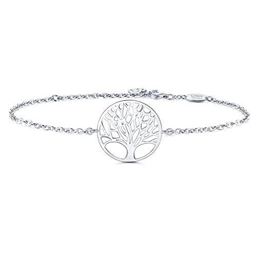Amoraime bracciale donna argento sterling 925 con catena a forma di albero della vita, simbolo di amore,regolabile in oro bianco