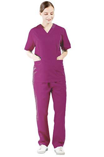 Nanxson Damen Schlupfkasack Schlupfjacke Lab Medizin Uniform Scrub Top und Hose Set Berufskleidung CF9027 (S, voilett) - Kragen Scrub Top