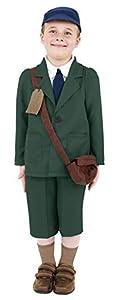 Smiffys-38669M Disfraz de evacuado de la 2a Guerra Mundial, Abrigo, Pantalones, Sombrero, Color Verde, M-Edad 7-9 años (Smiffy