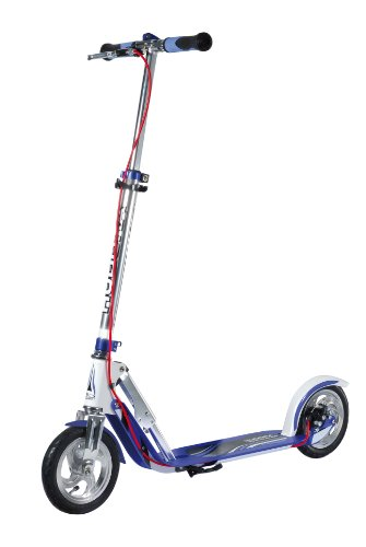 HUDORA Big Wheel Air Dual Brake Luftreifen-Scooter 205 mm, Handbremse Tret-Roller, City-Scooter, 14015