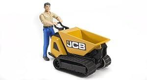 Bruder 62004 - Volquete pequeño Jcb Dumpster con trabajador con camisa beige y pantalones naranja