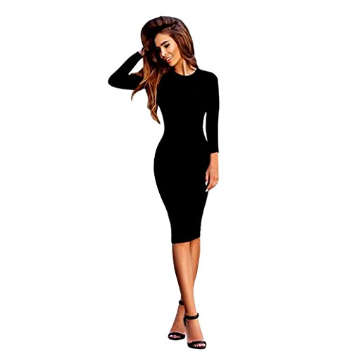 OVERDOSE Femmes Sexy Robe Solides Manches Longues Mince (S, Noir)