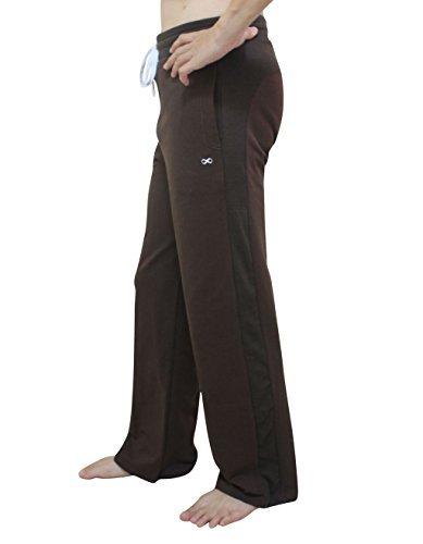 YogaAddict Herren-Yogahose, auch für Pilates, Fitness, Training, Freizeit, Lounge, Schlafen, Kampfsport, lang Größe L dunkelbraun