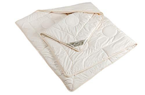 moebelfrank Bettdecke 4 Jahreszeiten Schurwolle kbT Baumwolle KBA Bett Bio Nadia 155x220